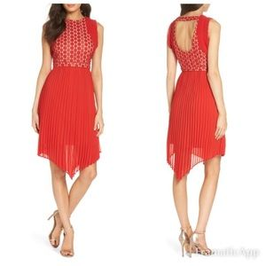 Foxiedox Nealea Dress Red Floral Lace Size S NWT